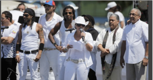 "Puerto Rico's singer Olga Tañon speaks before start of the ""Peace Without Borders"""