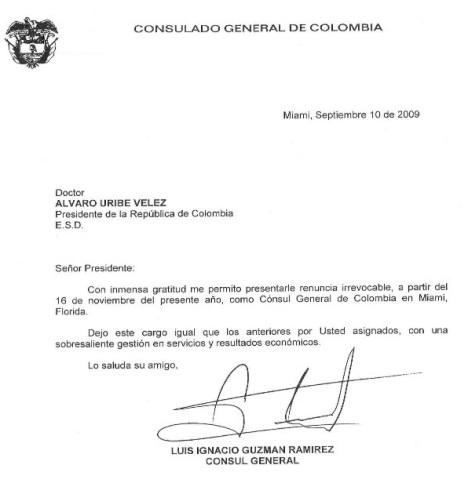 Renuncia Consul General de Miami Luis Ignacio Guzmán