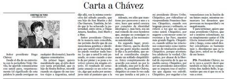 Carta Original Cristina de Toro al Presidente Hugo Chavez