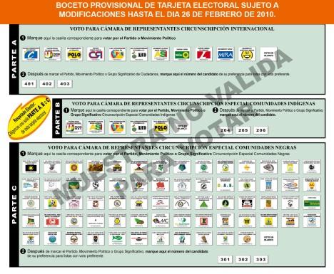 Tarjeta electoral Provisional Circunscripcion Internacional
