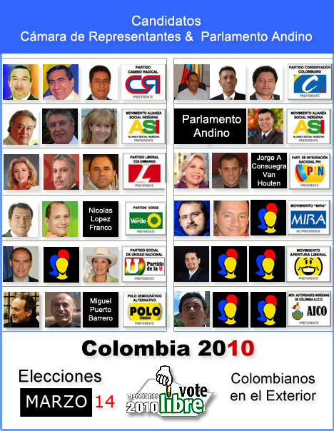 Candidatos elecciones 2010 - Colombianos en el Exterior