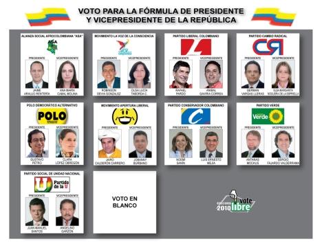 Tarjeta Electoral Presidencial 30 de Mayo - Colombia
