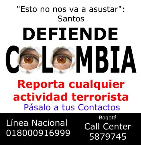 Defiende a Colombia Línea Nacional 018000916999 - Bogotá Call Center 5879745