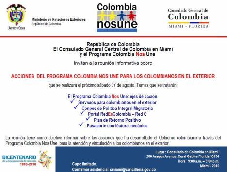 Programa Colombia nos Une en el Consulado de Miami, Florida