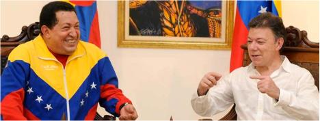 """""""Celebro mucho, muchísimo este encuentro con el presidente Chávez"""", dijo Juan Manuel Santos al anunciar el restablecimiento de las relaciones diplomáticas entre Colombia y Venezuela."""