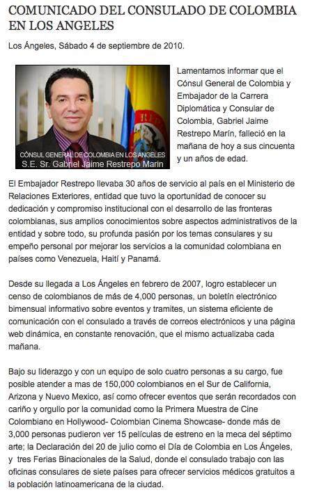 Murió Cónsul de Colombia en Los Ángeles, Sr. Embajador Gabriel Jaime Restrepo Marín