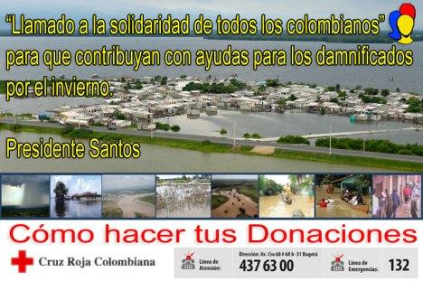 Llamado a la Solidaridad de todos los Colombianos para que contribuyan con ayudas para los damnificados por el invierno en el país