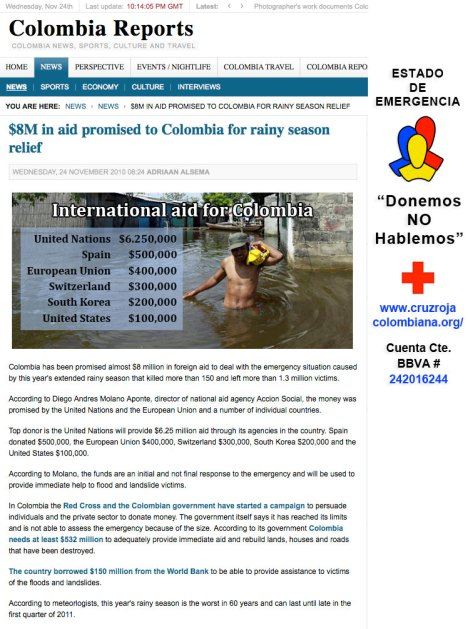 $8M in aid promised to Colombia for rainy season relief as published in Colombia Reports