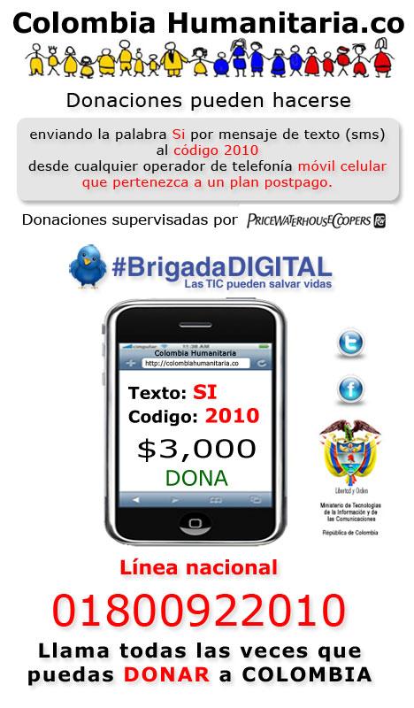 #brigadadigital lanza sitio en Twitter para Donaciones por celular para los Damnificados por la Ola Invernal- Colombia Humanitaria - TIC