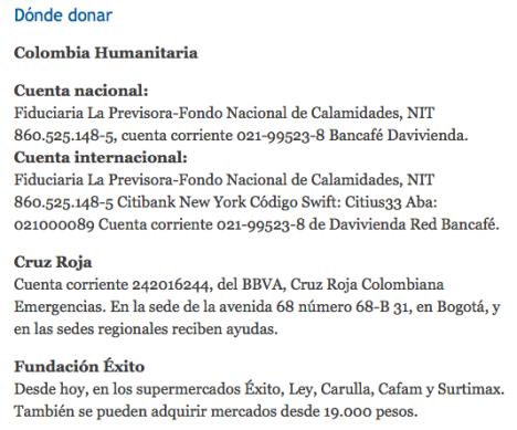 Donde Donar? Colombia Humanitaria abilita cuentas para Donaciones a los Damnificados por la Ola Invernal en Colombia - El Tiempo