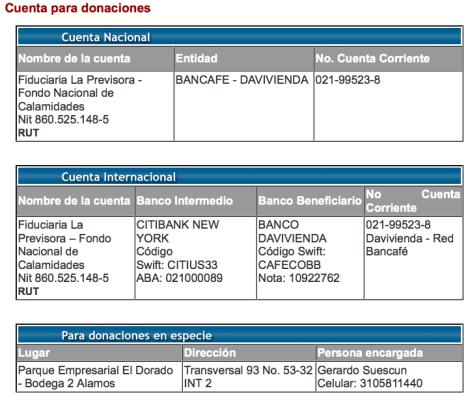 Colombia Humanitaria - Cuentas para hacer tus Donaciones - Supervisadas por Price Waterhouse Coopers