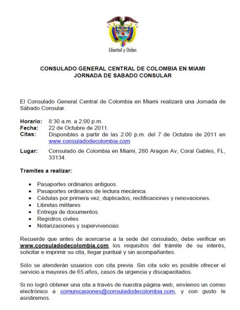 Jornada Sabado Consular en Miami - Sabado 22 de Octubre