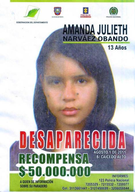 Ayudanos a encontrar a Amanda Julieth Narvaez Obando. Si tienes información comunicate al 316 515-7147 - 316 451-2758 - 311 738-3523