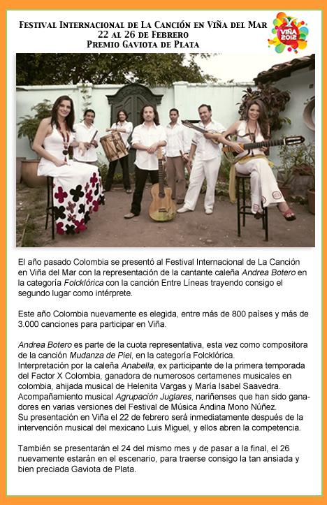 Colombia participa en el Festival Internacional de La Canción en Viña del Mar 22 al 26 de Febrero Premio Gaviota de Plata