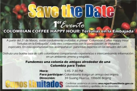 """Save the Date - 1er Evento """"Colombian Coffee Happy Hour: Tertulias en la Embajada"""""""