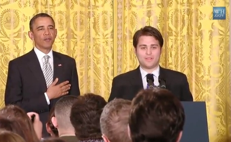 Barack Obama with Julian de LaValle as they lead us in the Pledge of Allegiance