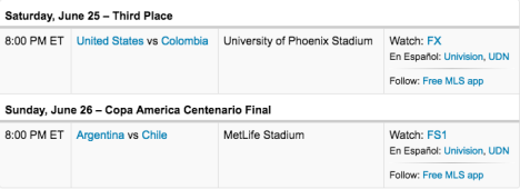 Colombia vs USA Saturday 6:25:2016